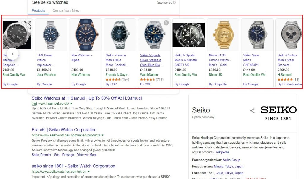 Google Shopping ads are very distinctive, and very effective.